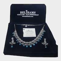 Belirams Sterling Silver Set Necklace and Pierced Earrings with Blue Topaz and CZ