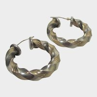 Peter Brams Sterling Silver and 14 Karat Yellow Gold Hoops for Pierced Ears