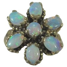 14 Karat Yellow Gold Opal Cluster Ring