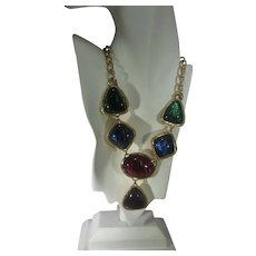 Vintage Kenneth J. Lane for Avon Statement Necklace With Jewel Tone Lucite Jewels in Goldtone Frames