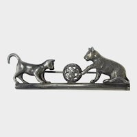 Sterling Silver Cats at Play With Ball