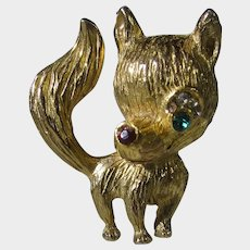 Foxy Pin in Goldtone with Green Crystal Eye and Red Crystal Nose