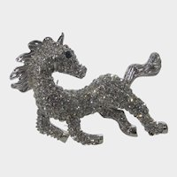 Galloping Stallion Horse Pin in Silver Tone and Covered in Crystals