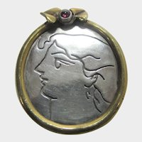 Sterling Silver Unique Portrait of Woman Pin or Pendant in Gold Wash Frame with Garnet