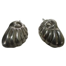 Sterling Silver Nautilus Shell Earrings for Pierced Ears