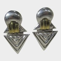 Sterling Silver Pierced Earrings With Goldtone Accents