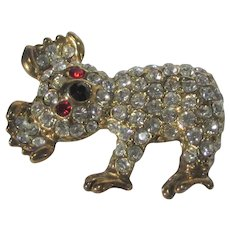 Koala Bear Crystal Pin With Red Eyes and Black Nose
