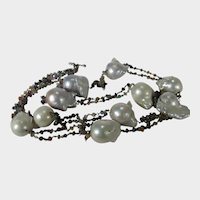 Baroque Freshwater Pearls Alternating With Segments Of Various Colors of Tourmaline