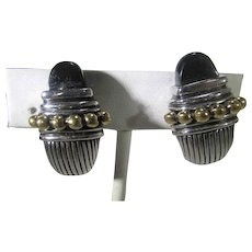 Classic Silver Tone Clip On Earrings With Goldtone Accents and Faux Onyx