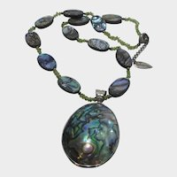 Abalone and Seed Bead Necklace Signed