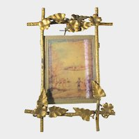 Vintage Brass Standing Easel With Vintage Print of Children Playing