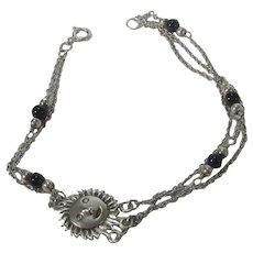 Sterling Silver Onyx Bracelet With Sun God Center Piece
