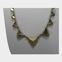 Signed Goldtone Pyramids Necklace