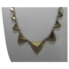 Signed Goldtone Pyramids Necklace