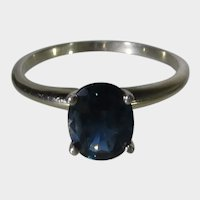 14 Karat Yellow Gold Sapphire Solitaire Ring