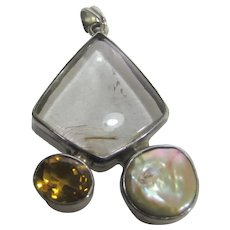 Sterling Silver Pendant With Rutilated Quartz, Mabe Pearl and Citrine