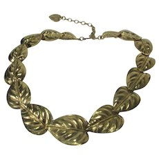 Trifari Goldtone Leaf Necklace