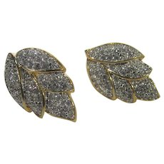 Swarovski America Ltd Goldtone Clip on Earrings With Pave Crystals in Leaf Form