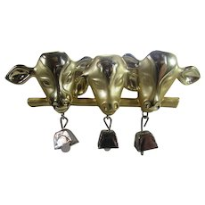 Cows With Silver Bells in Goldtone In Polished and Brushed Finish