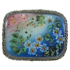 Sterling Silver Artists Signed Hand Painted Abalone Framed Shell in Floral Theme