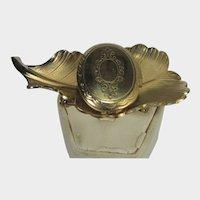 Vintage Goldtone Locket on a Leaf Pin