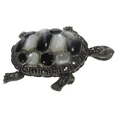 Sterling Silver Turtle Pin or Pendant with MOP and Onyx Shell and Moveable Head and Legs