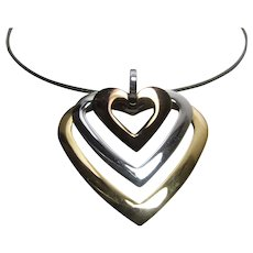 Milor Stainless Steel Necklace With Tri Color Hear within Heart Pendant