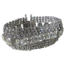 Mid Century Clear Cut Crystal Bracelet