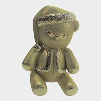 Santa Teddy Bear in Goldtone by American Jewelry Company