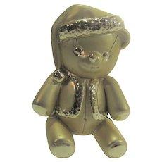 Santa Teddy Bear in Goldtone by American Jewelry Company