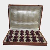 French  Set of 12 Burgundy Poodle Ceramic Knife Rests in Velvet Presentation Box