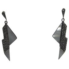 Sterling Silver Pierced Earrings With Mother of Pearl and Marcasite