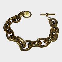 Anne Klein Gold Tone Link Bracelet in Brushed Finish