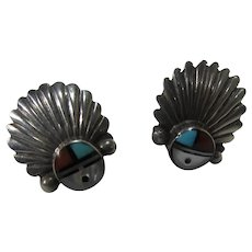 Native American Sterling Silver Zuni Pierced Earrings With Inlaid Gemstones