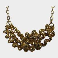 Vintage Gold Tone Dimensional Necklace