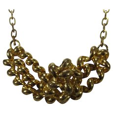 Vintage Gold Tone Dimensional Necklace
