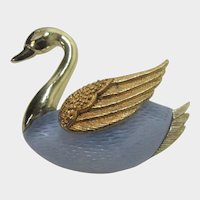 Vintage Swan Pin in Gold Tone With Blue Lucite Body