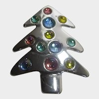 Christmas Tree Pin in Silver Tone in Modernist Form With Cabochon Crystal Ornaments