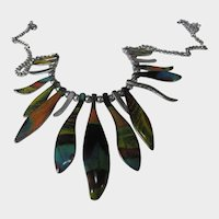 Silver Tone Enamelled Necklace With 18 Beautiful Color Drops