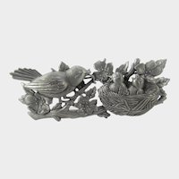 Vintage JJ Pewter Tone Mother Bird Feeding Chicks in Nest Pin