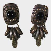 Vintage Statement Clip Earrings in Bronze Tone
