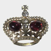 Vintage Gold Tone Crown Pin With Red Cabochon and Clear Crystal Surround