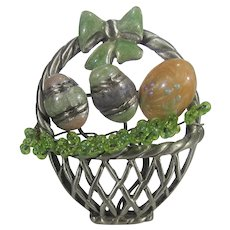 Easter Basket Pin in Pewter Tones with Enamelled Eggs