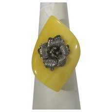 Sterling Silver Adjustable Ring with Bakelite Top and Floral Design