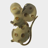 Signed Mouse Pin Enamelled in Cream and Gold Tone
