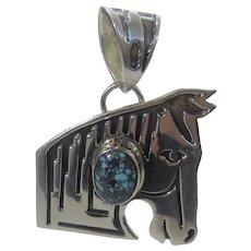 Native American Navajo Artist Randy Billy Sterling Silver Turquoise Horse Head Pendant