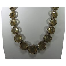 Necklace of Faux Citrine Crystals Each in a Gold Tone Frame