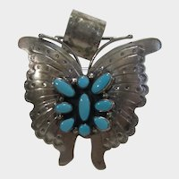 Native American Artist Bobby Johnson Sterling Butterfly Pendant with Sleeping Beauty Turquoise