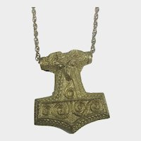 Vintage Necklace Replica of Thor's Hammer in Gold Tone Pendant in Aged Patina