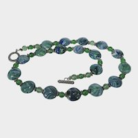 Art Glass Beads and Crystal Bead Necklace with Sterling Toggle Closure